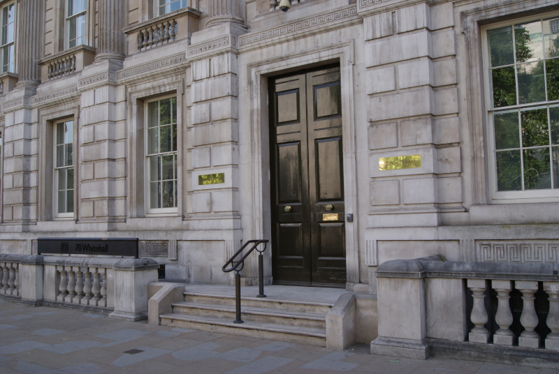 Door to the Cabinet Office. 70 Whitehall.